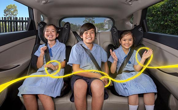 Kids wear seatbelts